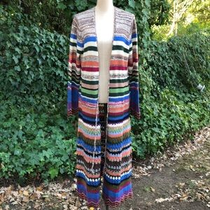 Anthropologie Knitted multicolor maxi cardigan